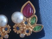 Vintage Swarvowski Earclips in the Cartier Fruit Salad Style (SOLD)